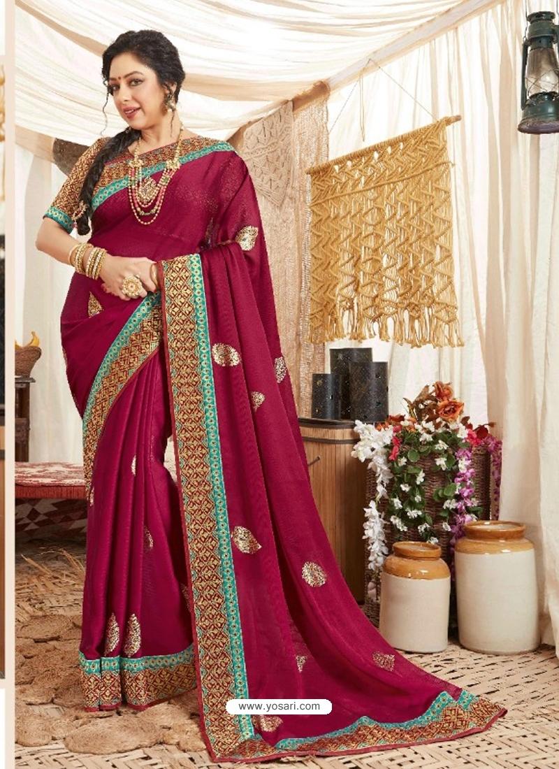 Rose Red Heavy Designer Wedding Wear Fancy Fabric Sari