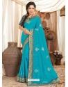 Turquoise Heavy Designer Wedding Wear Fancy Fabric Sari