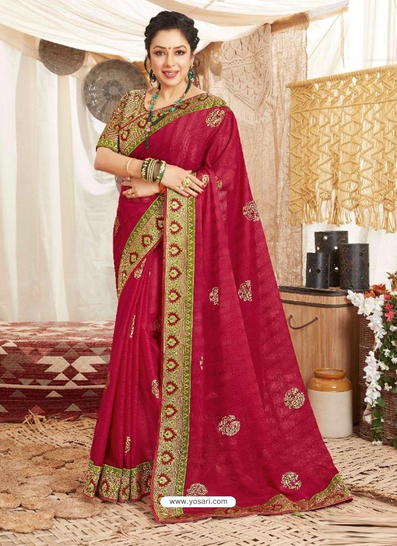 Crimson Heavy Designer Wedding Wear Fancy Fabric Sari