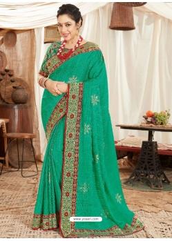 Jade Green Heavy Designer Wedding Wear Fancy Fabric Sari