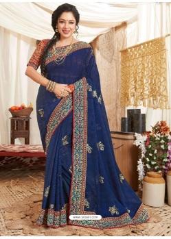 Dark Blue Heavy Designer Wedding Wear Fancy Fabric Sari