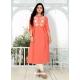 Orange Designer Party Wear Readymade Heavy Cotton Kurti