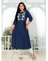 Navy Blue Designer Party Wear Readymade Heavy Cotton Kurti