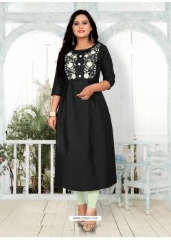 Black Designer Party Wear Readymade Heavy Cotton Kurti