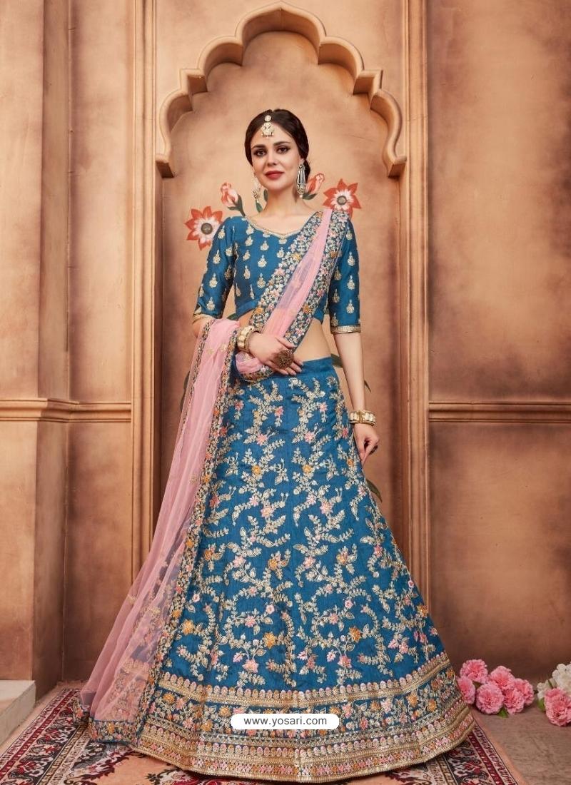 Teal Blue Latest Designer Wedding Lehenga Choli