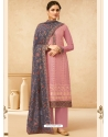 Old Rose Designer Party Wear Real Georgette Palazzo Suit