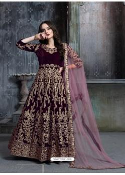 Deep Wine Designer Velvet Wedding Wear Anarkali Suit