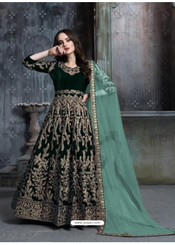 Dark Green Designer Velvet Wedding Wear Anarkali Suit