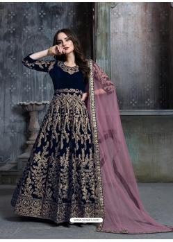 Navy Blue Designer Velvet Wedding Wear Anarkali Suit