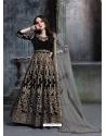 Black Designer Velvet Wedding Wear Anarkali Suit