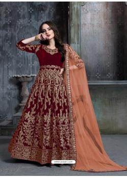 Maroon Designer Velvet Wedding Wear Anarkali Suit