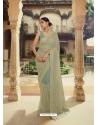 Grayish Green Heavy Designer Party Wear Sari