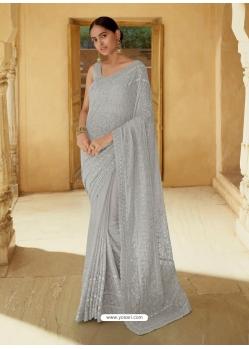 Light Grey Heavy Designer Party Wear Sari