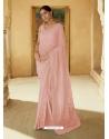 Baby Pink Heavy Designer Party Wear Sari