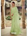 Green Heavy Designer Party Wear Sari