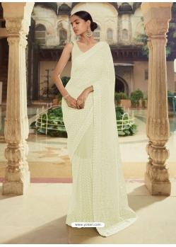 Off White Heavy Designer Party Wear Sari
