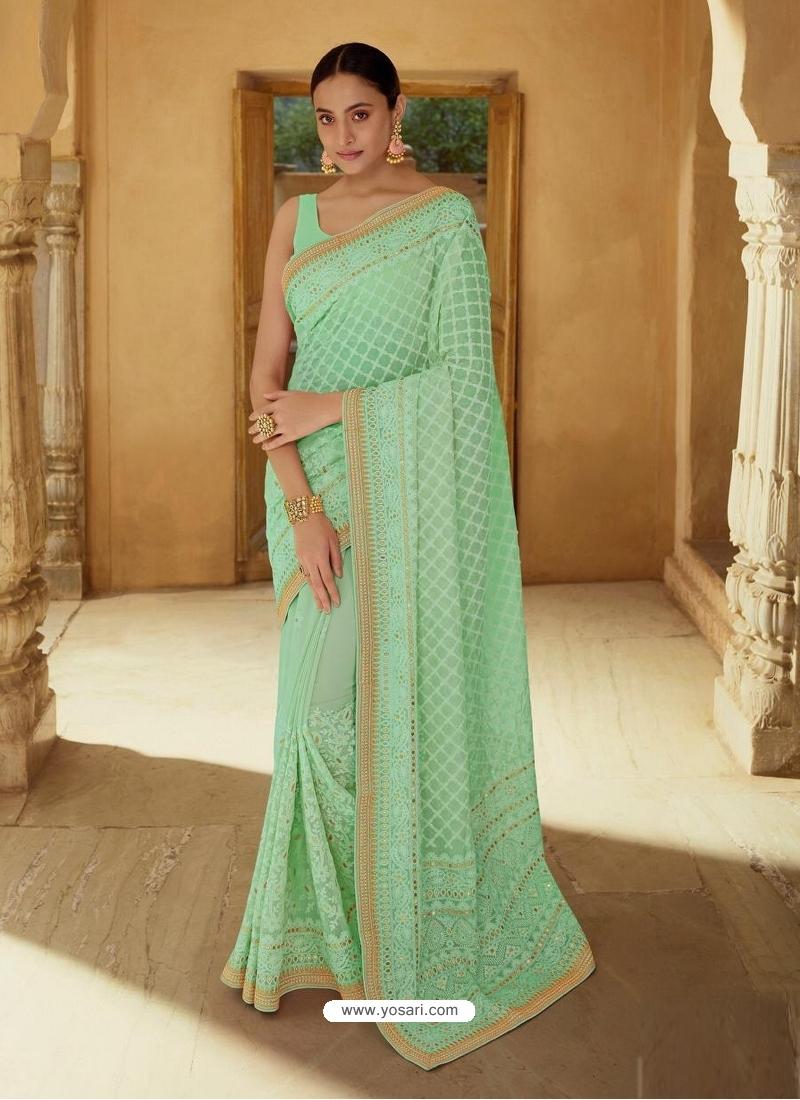 Sea Green Heavy Designer Party Wear Sari