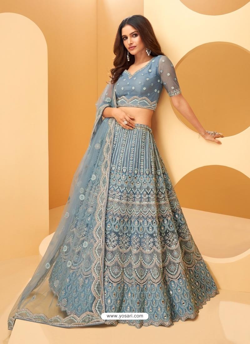Aqua Grey Latest Designer Wedding Lehenga Choli