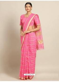 Pink Heavy Designer Party Wear Cotton Silk Sari