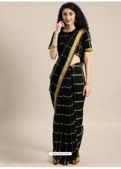 Black Heavy Designer Party Wear Cotton Silk Sari