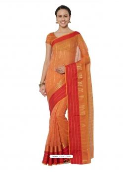 Orange Heavy Designer Party Wear Cotton Silk Sari