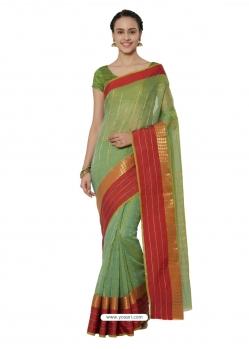 Green Heavy Designer Party Wear Cotton Silk Sari