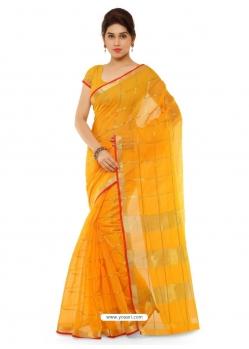 Yellow Heavy Designer Party Wear Cotton Silk Sari
