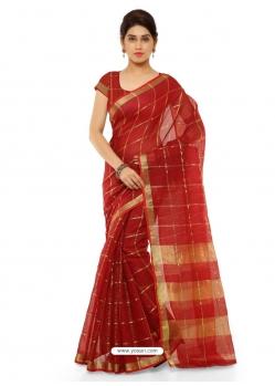 Maroon Heavy Designer Party Wear Cotton Silk Sari