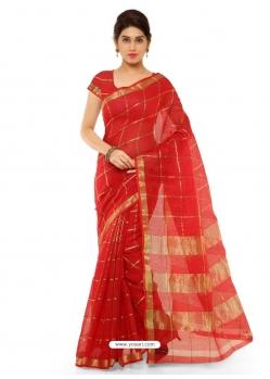Red Heavy Designer Party Wear Cotton Silk Sari