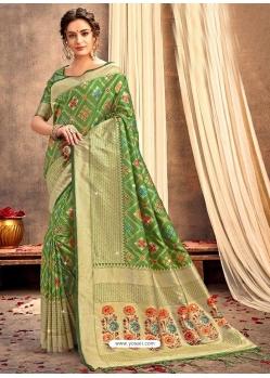 Green Heavy Designer Party Wear Silk Sari