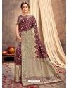 Wine Heavy Designer Party Wear Silk Sari