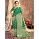 Forest Green Heavy Designer Party Wear Silk Sari