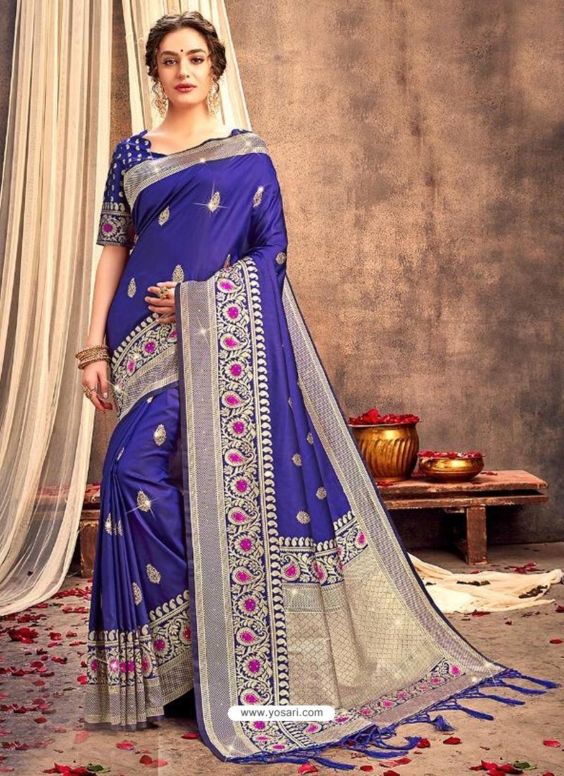 Royal Blue Heavy Designer Party Wear Silk Sari