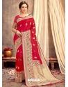 Red Heavy Designer Party Wear Silk Sari