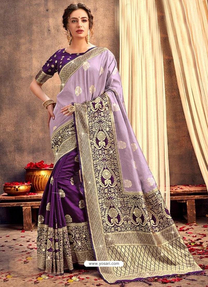 Purple Heavy Designer Party Wear Silk Sari
