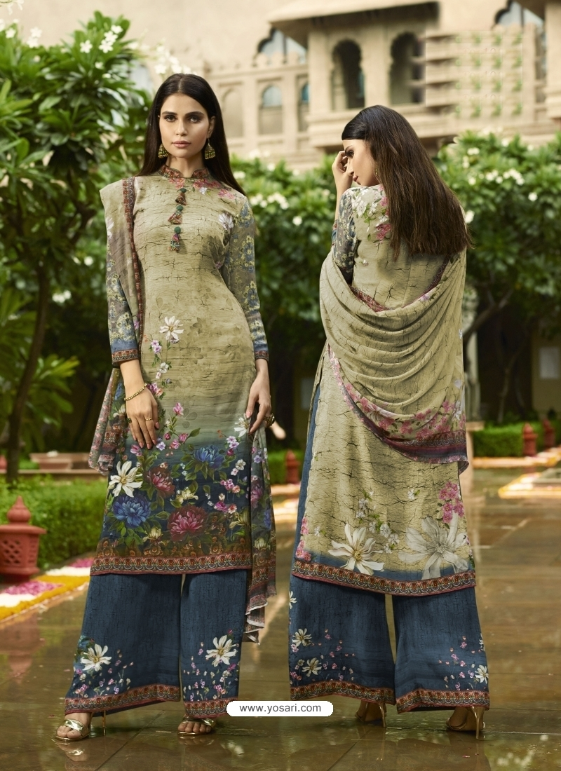 Olive Green Designer Party Wear Siya Crepe Palazzo Suit