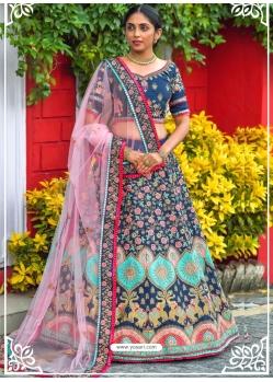 Dark Blue Latest Designer Wedding Lehenga Choli