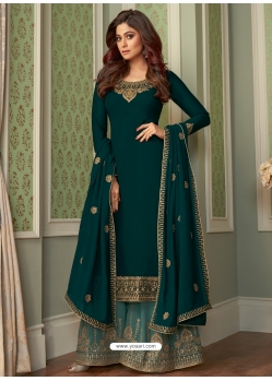 Teal Designer Party Wear Georgette Palazzo Suit