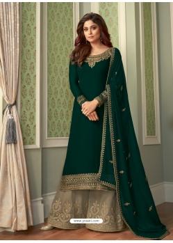 Dark Green Designer Party Wear Georgette Palazzo Suit
