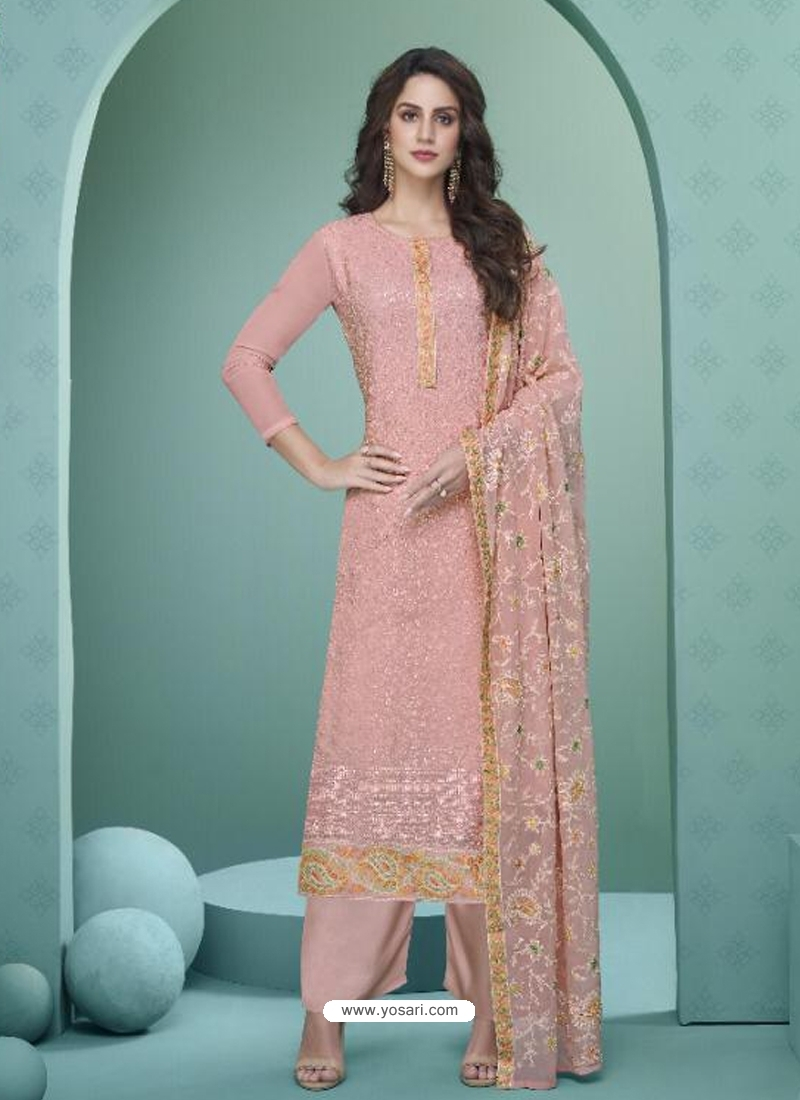Baby Pink Readymade Designer Party Wear Heavy Airtex Georgette Suit