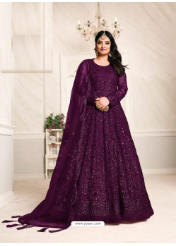 Purple Designer Net Party Wear Indo Western Suit