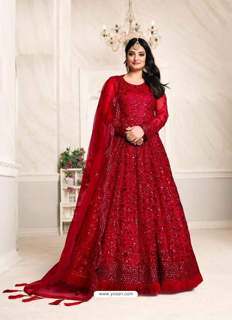 Red Designer Net Party Wear Indo Western Suit