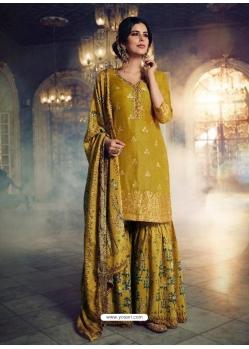 Corn Designer Party Wear Dola Silk Sharara Suit