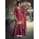 Rose Red Designer Party Wear Dola Silk Sharara Suit
