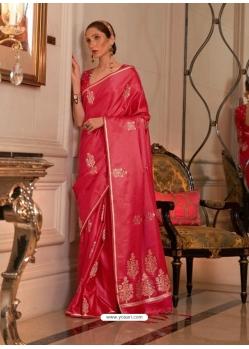 Dark Peach Heavy Designer Party Wear Pure Satin Weaving Silk Sari