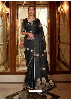 Black Heavy Designer Party Wear Pure Satin Weaving Silk Sari