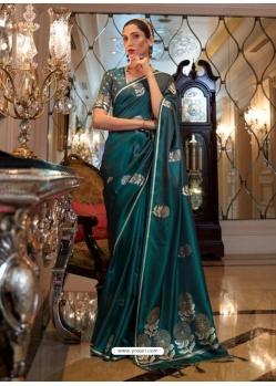 Teal Heavy Designer Party Wear Pure Satin Weaving Silk Sari