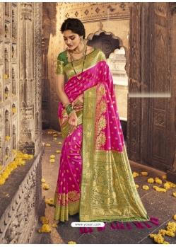 Rani Heavy Designer Party Wear Banarasi Silk Sari