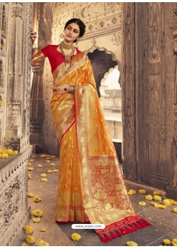 Mustard Heavy Designer Party Wear Banarasi Silk Sari