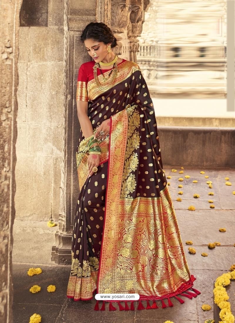 Coffee Heavy Designer Party Wear Banarasi Silk Sari